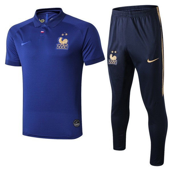 Polo Komplett Set Frankreich 100th Blau Gold