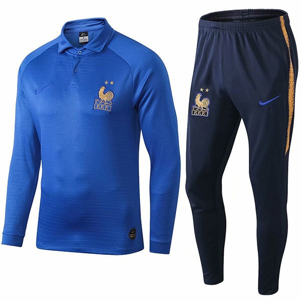 Polo Komplett Set Frankreich 100th Blau