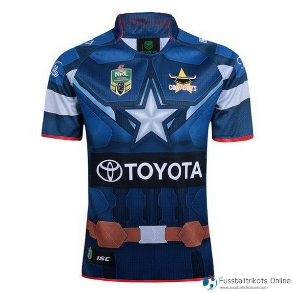 North Queensland Cowboys Trikot Capitan America Blau Rugby Shirts Günstig